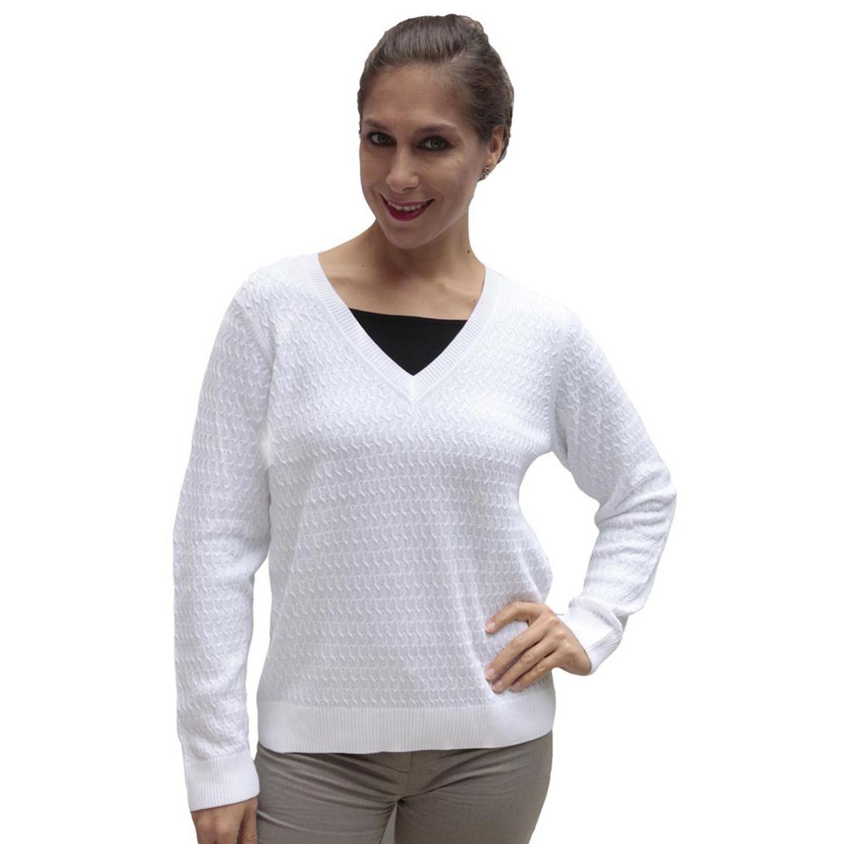 3ee87149db Womens 100% Pima Cotton Knit Sweater Ivory Size L (15F-013L ...
