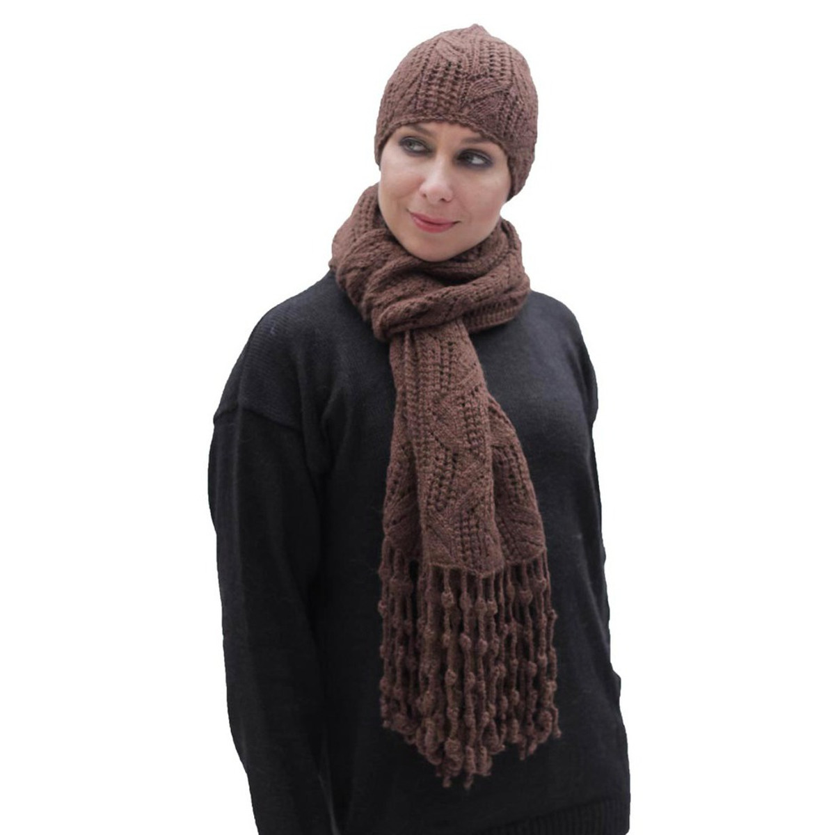 902be481 Superfine Hand Knitted Alpaca Wool Beanie Hat & Chunky Scarf Brown ...