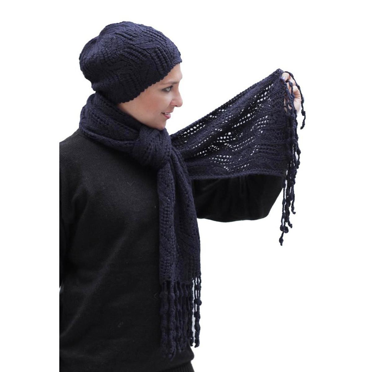 ff076477 Superfine Hand Knitted Alpaca Wool Beanie Hat & Chunky Scarf Navy Blue