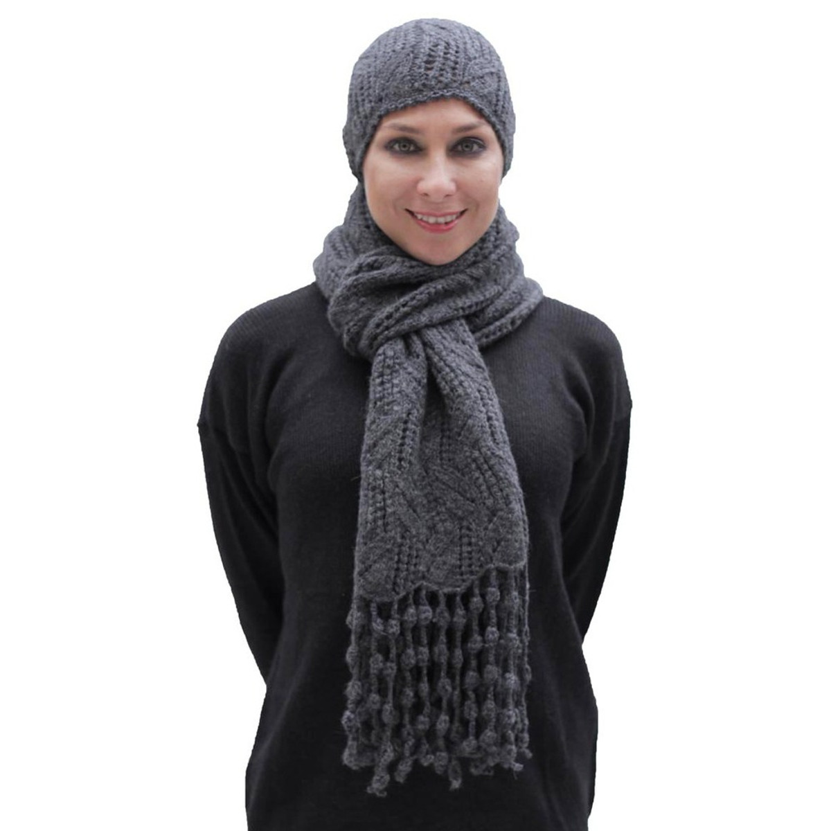 e66dc4dc Superfine Hand Knitted Alpaca Wool Beanie Hat & Chunky Scarf Charcoal Gray