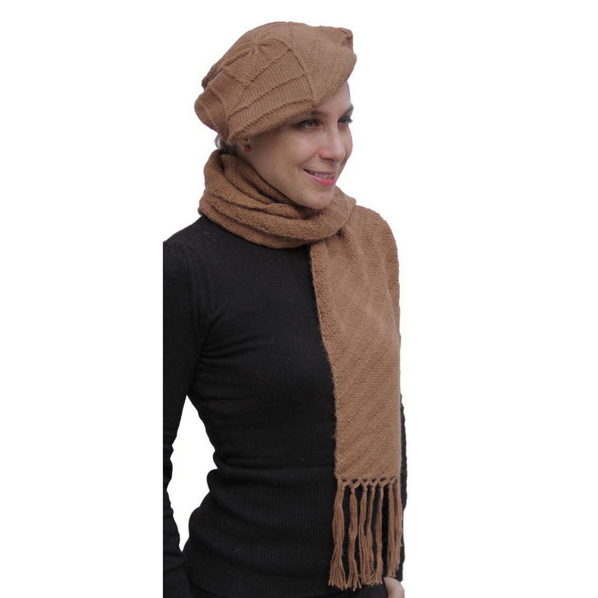 65a15205 Superfine Hand Knitted Alpaca Wool Beret & Scarf Camel (33D-012-205 ...