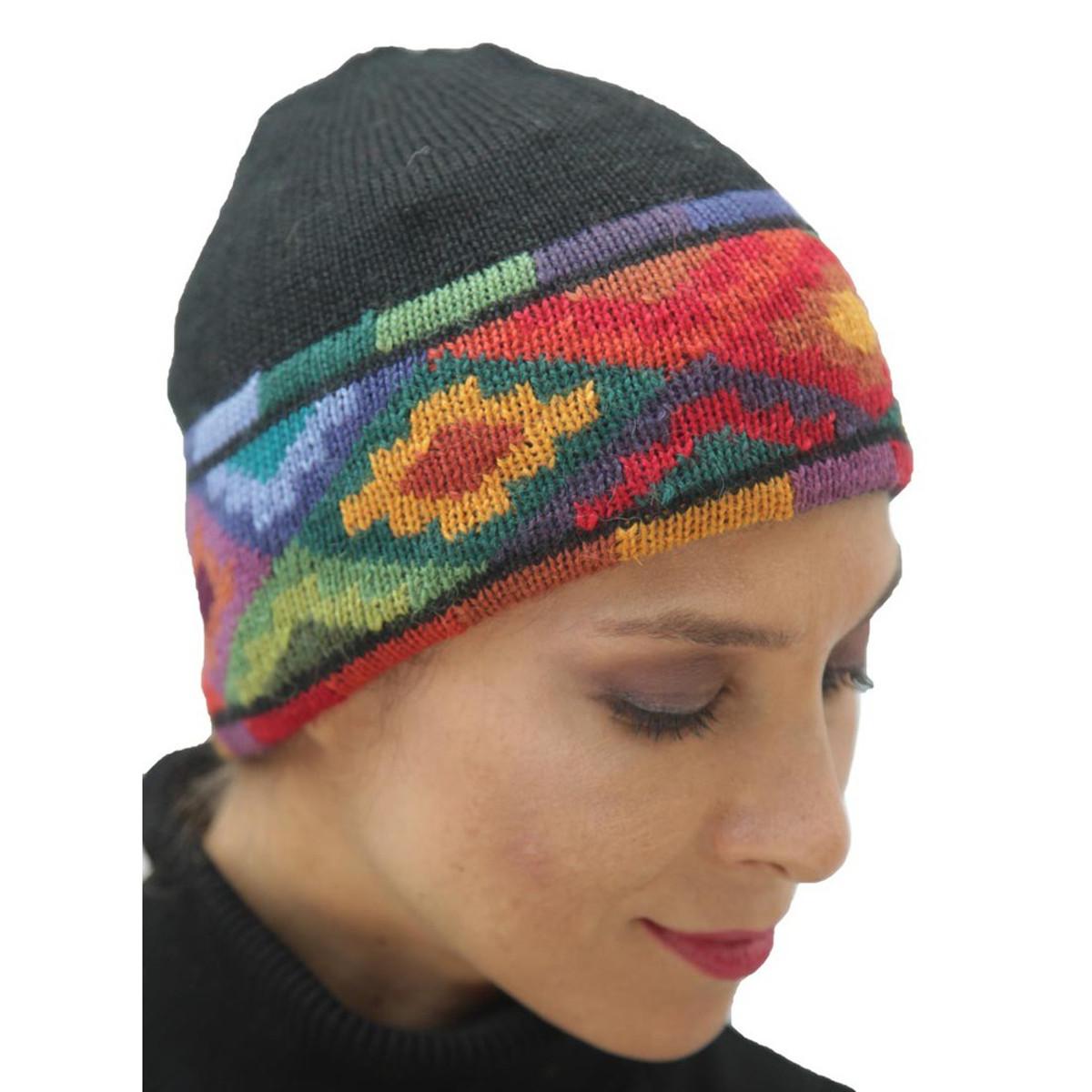 b9697667885 Superfine 100% Alpaca Wool Hand Knit Intarsia Beanie Hat One Size ...