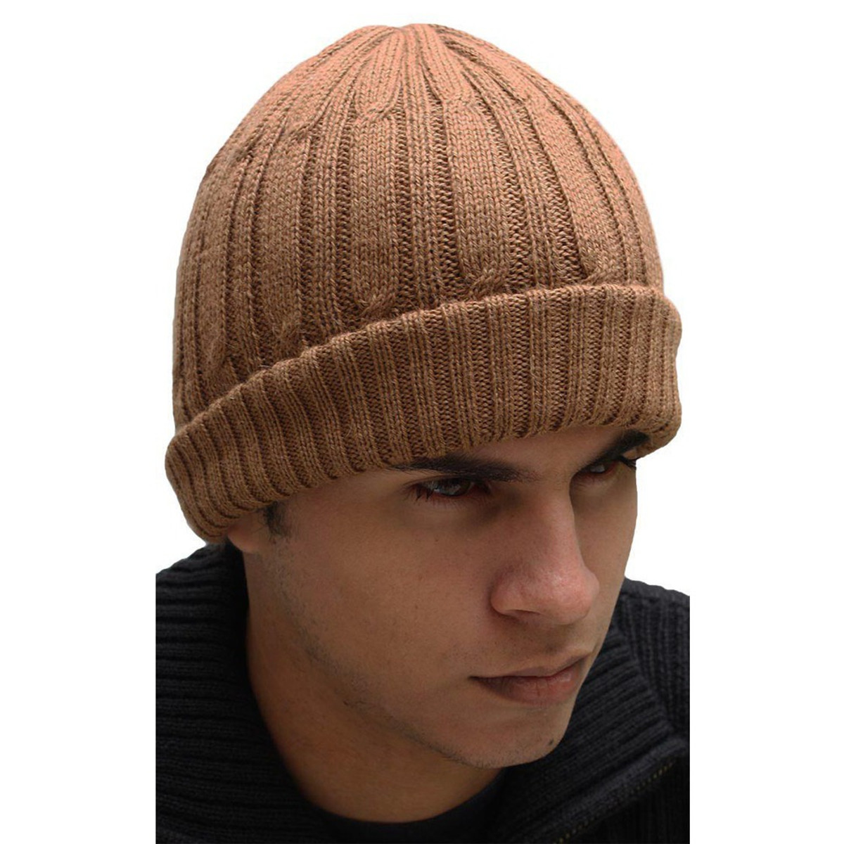cc26d517 Superfine Double-Knitted Alpaca Wool Beanie Hat Camel Unisex One Size