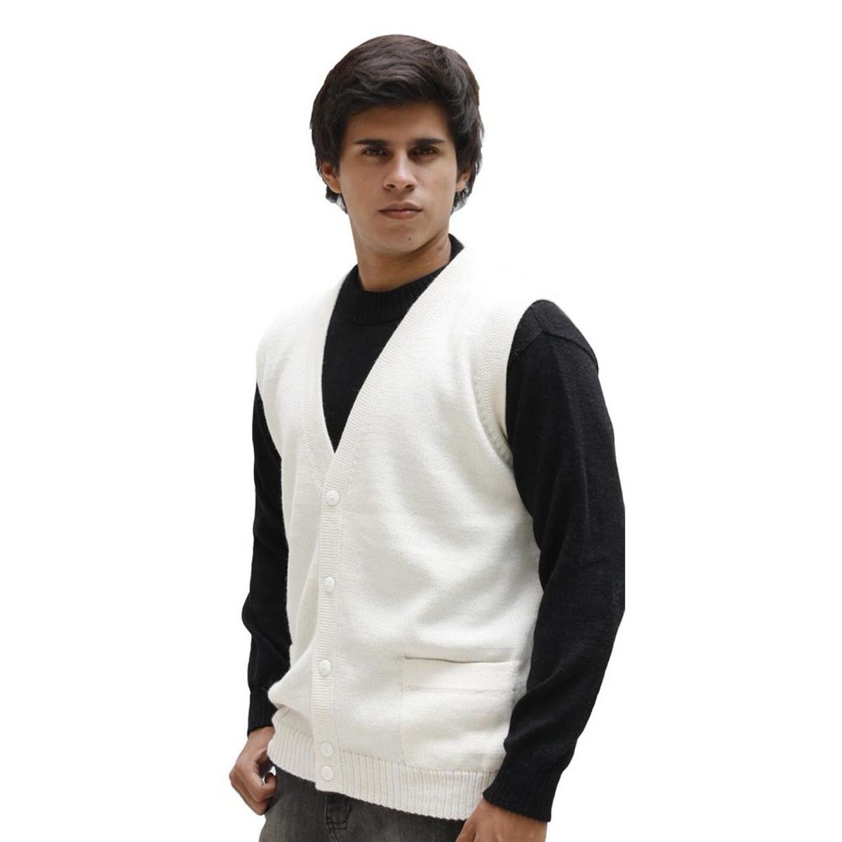 Mens Superfine Alpaca Wool Knitted V Neck Sweater Button Down Golf