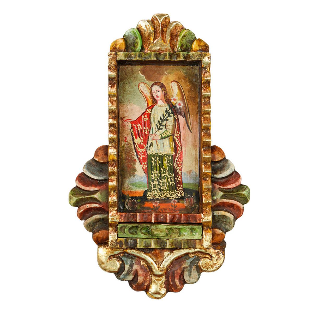 Archangel Gabriel - Colonial Cuzco Peru Handmade Retablo Folk Art Framed  Oil Painting on Canvas Hand Carved Wood Altarpiece