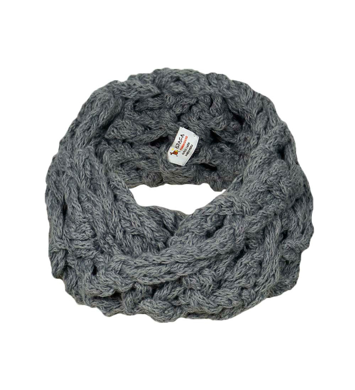 44047b0d62 Women's Alpaca Wool Blend Winter Handknitted Soft Warm Infinity Two Round  Scarf Solid Color