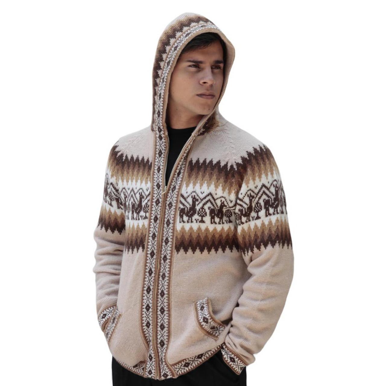 Mens Little Llamas Hooded Alpaca Wool Knitted Jacket Hoodie Sweater