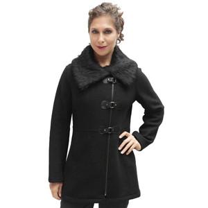 Women's Alpaca & Merino Wool Assymetric Zip Faux Fur Accent Coat Size M Black