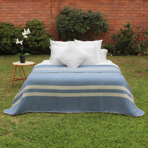 Soft Blue - Ivory Stripes