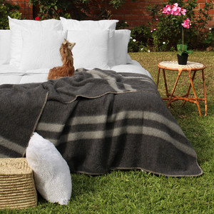 Alpaca Wool Thick Military Banderita Blanket - King Size