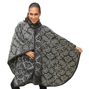 Women's Superfine Alpaca Wool Reversible Baroque  Poncho Cloak With Scarf