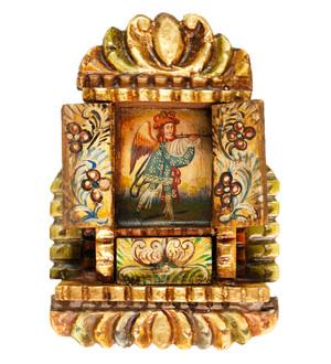 Military Archangel Colonial Peru Art Handmade Retablo Handcarved Altarpiece