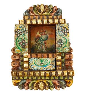 Military Archangel Colonial Peru Religious Retablo Handcarved Altarpiece