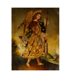"Archangel Raphael Original Colonial Cuzco Peru Folk Art Oil Painting On Canvas 12"" x 8"" (30-100-07468)"