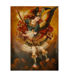 "Archangel Michael Original Colonial Cuzco Peru Folk Art Oil Painting On Canvas 12"" x 8"" (30-100-07474)"