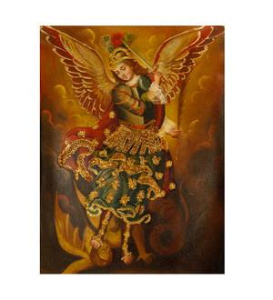 "Archangel Michael Original Colonial Cuzco Peru Folk Art Oil Painting On Canvas 12"" x 8"" (30-100-07476)"