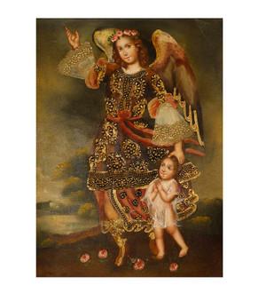 "Guardian Angel Original Colonial Cuzco Peru Folk Art Oil Painting On Canvas 12"" x 8"" (30-100-07479)"