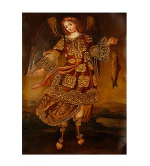"Archangel Raphael Original Colonial Cuzco Peru Folk Art Oil Painting On Canvas 12"" x 8"" (30-100-07484)"