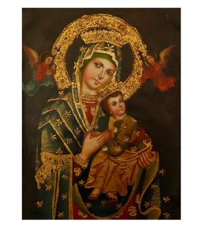 "Virgin And Child Original Colonial Cuzco Peru Folk Art Oil Painting On Canvas 12"" x 8"" (30-100-07513)"