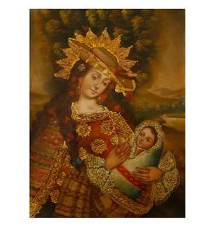 "Virgin And Child Original Colonial Cuzco Peru Folk Art Oil Painting On Canvas 12"" x 8"" (30-100-07521)"