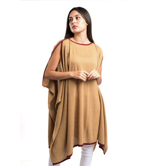 Baby Alpaca Blend Wool Sweater Draped Poncho Cape Cloak Wrap Knitted Lightweight Draped Poncho Open Arms Seams Burgundy Trim Camel Color Peru