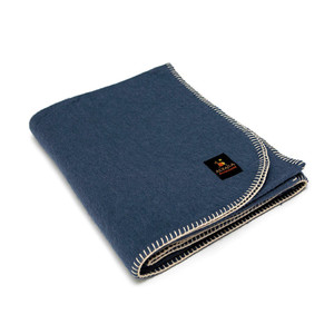 Alpaca Wool Thick Military Banderita Blanket Solid Color Travel Size Steel Blue