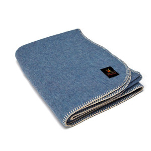 Alpaca Wool Thick Military Banderita Blanket Solid Color Travel Size Soft Blue