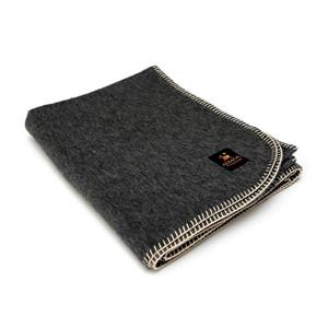 Alpaca Wool Thick Military Banderita Blanket Solid Color Travel Size Dark Gray