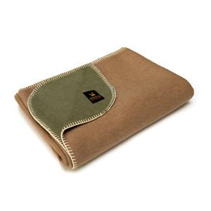 Alpaca Wool Thick Military Banderita Blanket Biface Design Travel Size Olive Green/Soft Camel