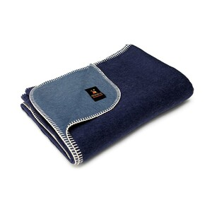 Alpaca Wool Thick Military Banderita Blanket Biface Design Travel Size Steel Blue/Navy Blue