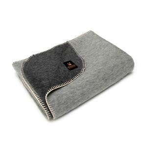 Alpaca Wool Thick Military Banderita Blanket Biface Design Travel Size Dark Gray/Soft Gray