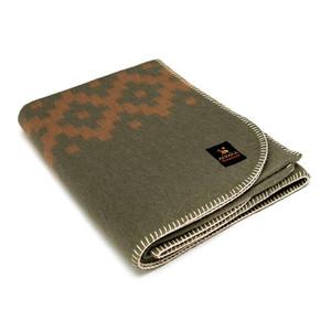 Alpaca Wool Thick Military Banderita Blanket Ethnic Design Travel Size Olive Green/Soft Camel