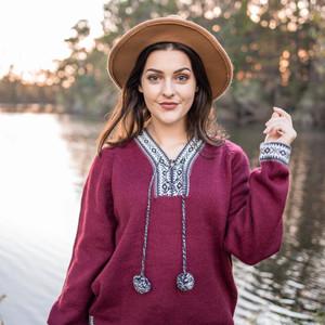 Alpaca Wool Sweater Women Alpaca Sweaters Women Alpaca Wool Jacket for Women Ethnic Design Vneck Sweater Peru