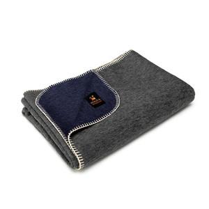 Alpaca Wool Thick Military Banderita Blanket Biface Design Travel Size Navy Blue/Gray