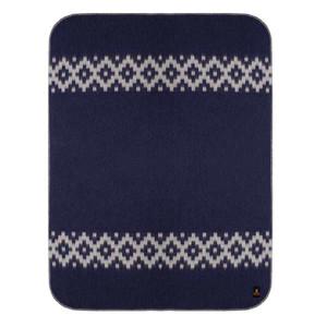 Alpaca Wool Thick Military Banderita Blanket Ethnic Design Travel Size Navy Blue/Soft Gray