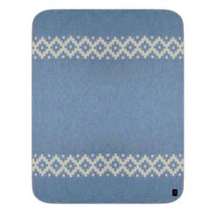 Alpaca Wool Thick Military Banderita Blanket Ethnic Design Travel Size Soft Blue/Ivory
