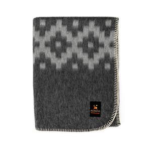 Alpaca Wool Thick Military Banderita Blanket Ethnic Design Travel Size Dark Gray/Soft Gray