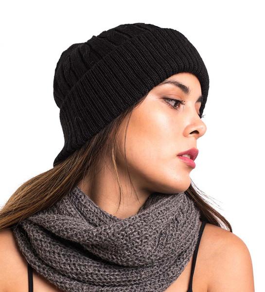 100% Alpaca Wool Handmade Chullo Ski Hat Beanie Aviator Winter Skull Cap Unisex Winter Braided Design Black Peru