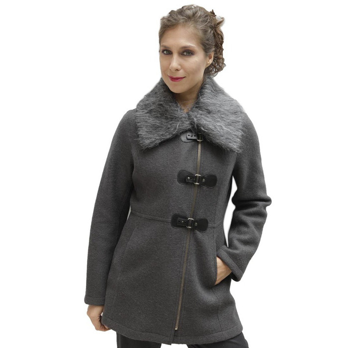 Women's Alpaca & Merino Wool Assymetric Zip Faux Fur Accent Coat Size L Gray