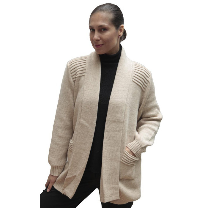 Women's Alpaca Wool Coat Sz L Beige