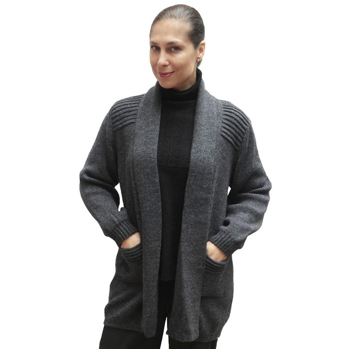 Women's Alpaca Wool Coat Sz M Gray