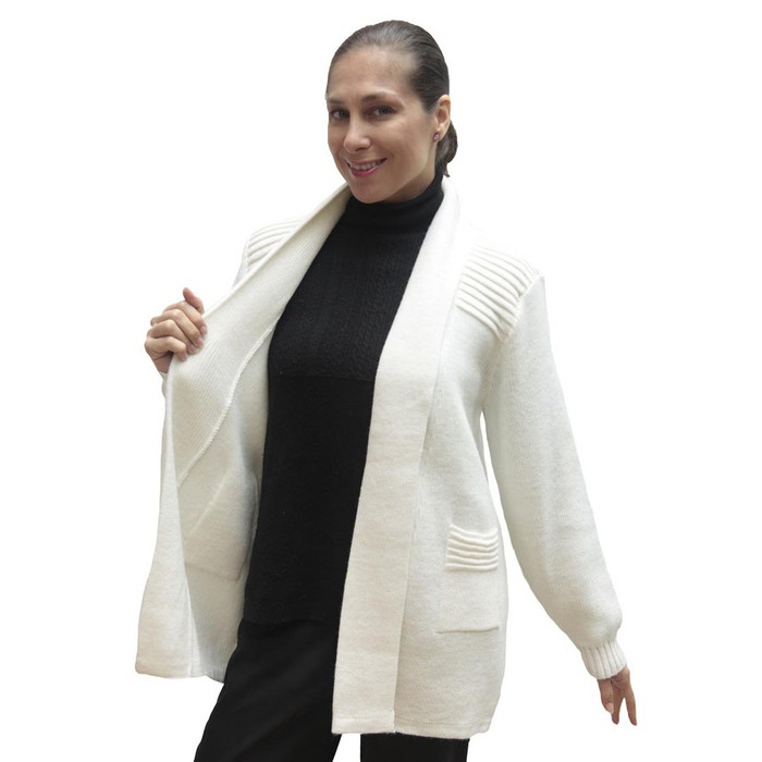 Women's Alpaca Wool Coat Sz M Ivory