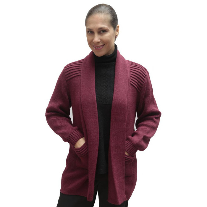 Women's Alpaca Wool Coat Sz L Wine Burgundy