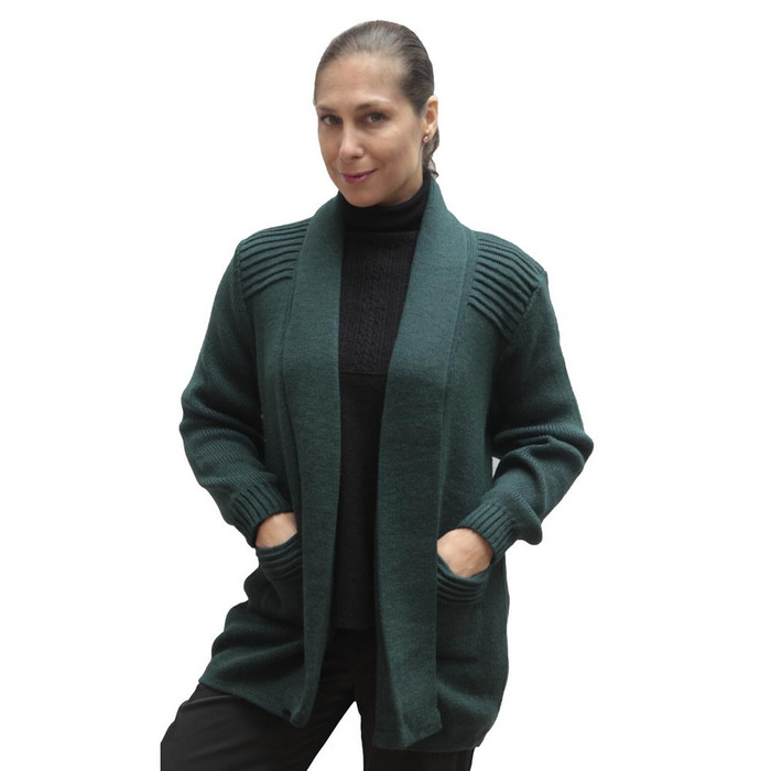 Women's Alpaca Wool Coat Sz L Green