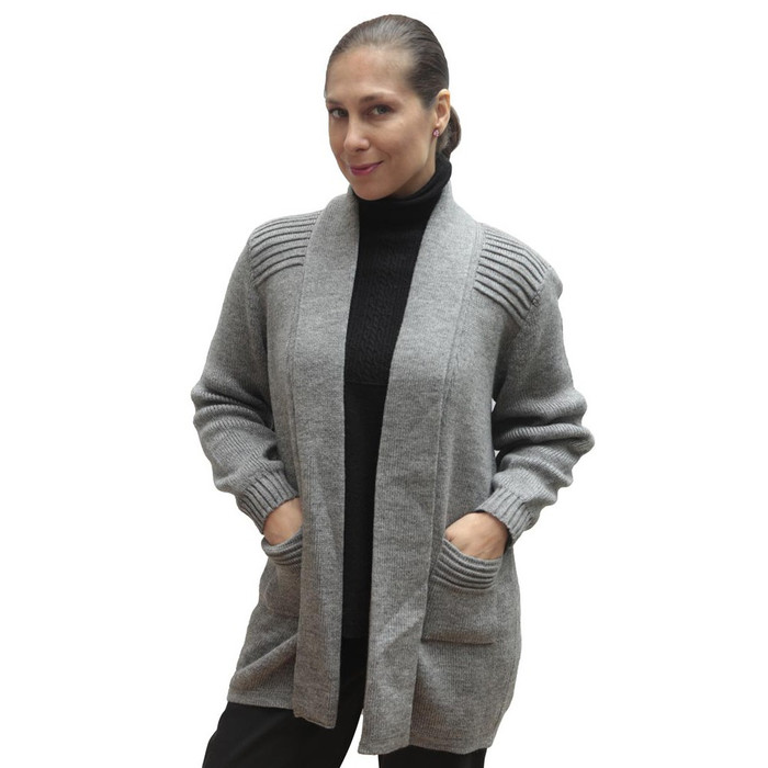 Women's Alpaca Wool Coat Sz M Medium Gray