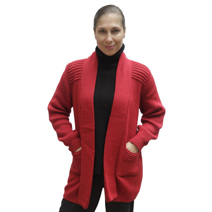 Women's Alpaca Wool Coat Sz L Red