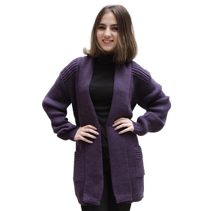 Women's Alpaca Wool Coat Sz L Plum