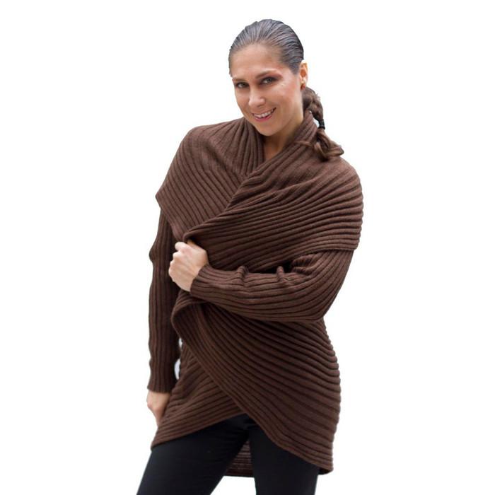 Alpaca Wool Coat Brown SZ L
