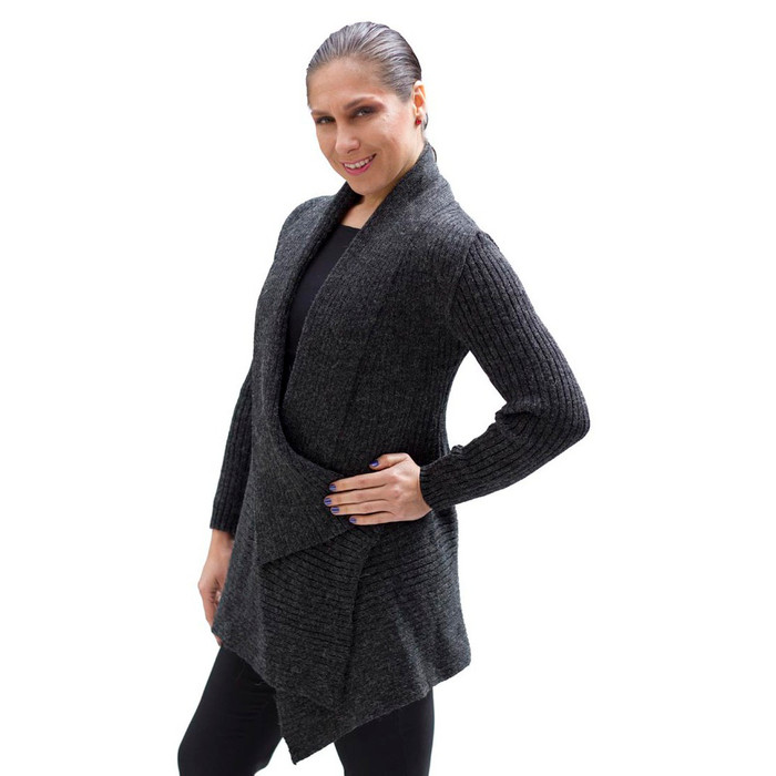 Women's Alpaca Wool Coat SZ M Charcoal Gray