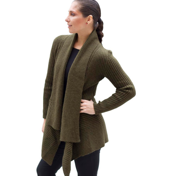 Women's Alpaca Wool Coat SZ M Leaf Green